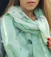 Omslagdoek met ster Dazzling Star|Mint groene sjaal|Vierkante sjaal|Sterren glitter