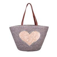 Beach Bag Heart|Strandtas|Grijs bruin|Hart pailetten|Papier
