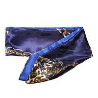 Zijdezacht bandana sjaaltje Blue Chain|Klein sjaaltje|Blauw goud|Kettingen luipaard