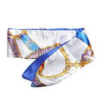 Zijdezacht bandana sjaaltje Chique Chain|Klein sjaaltje|Blauw wit goud|Ketting print