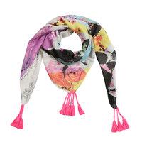 Vierkante dames sjaal Art and Roses|Vierkante shawl|Wit roze geel groen zwart|Rozen bloemen kunst