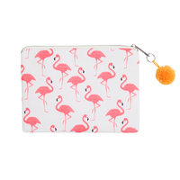 Make-up tasje Viva la summer|Clutch|Flamingo print|Roze wit