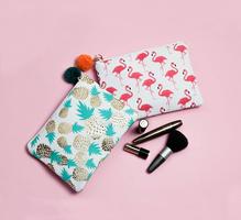 Make-up tasje Viva la summer|Clutch|Flamingo print|Roze wit