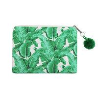 Make-up tasje Viva la Tropics|Clutch|Tropische bladeren print|Wit groen