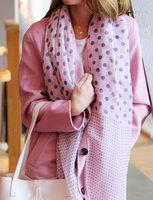 Lange dames sjaal Dots Party|Lange shawl|Roze grijs|Stippen