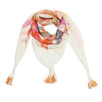 Vierkante dames sjaal Funky Feathers|Vierkante shawl|Wit beige oranje roze|Veren print