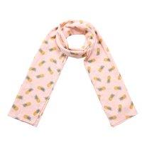 Lange dames sjaal Happy Pineapple|Lange shawl|Roze wit geel|Ananas stippen