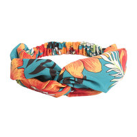 Haarband Festive Flowers Blauw oranje haarband Knot Bloemen print
