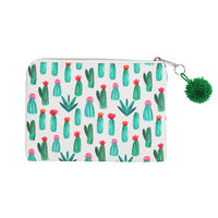 Make-up tasje Viva la Cactus|Clutch|Cactus print|Wit groen