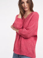 Gebreide fluffy dames trui Lelala|Gebreide trui|Malabar Cerise roze rood|An'ge Paris