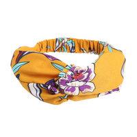 Haarband Happy Flowers Geel paars blauw Stoffen haarband Knot Bloemen print