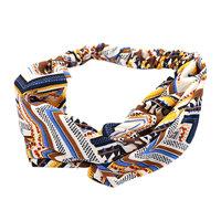 Haarband Summer Party Geel blauw bruin Stoffen haarband Knot Aztec print