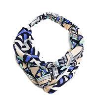 Haarband Summer Party Blauw Beige Zwart Stoffen haarband Knot Aztec print