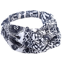 Elastische haarband Pretty Tough Wit zwart Stoffen haarband Knot Aztec print