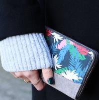 Dames portemonnee Funky Jungle|Clutch|Tropische print|Blauw beige groen rood|Katoen