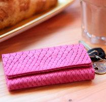 Kleine dames portemonnee Loco Croco|Clutch|Croco print|Fuchsia roze|PU leder