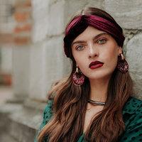 Elastische haarband Velvet Bordeaux Rood Velvet velours haarband Knot