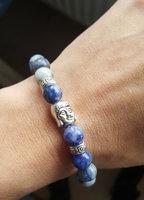 Kralen armband Buddha|Blauw zilver|Buddha Stenen kralen|Lapis Lazuli