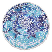 Beach roundie Deep Blue|Badstof Microfiber|Rond strandlaken|Ibiza ronde handdoek|Blauwe mandala print