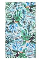 Lang strandlaken Mister Toucan|Badstof Microfiber|Badlaken|Toucan tropische bladeren print