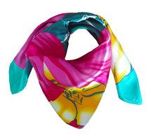 Zijden vierkant sjaaltje Bright Flowers|Roze Aqua Blauw |Bloemenprint|Kleine shawl