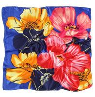 Zijden vierkant sjaaltje Bright Flowers|Royal blue roze|Bloemenprint|Kleine shawl