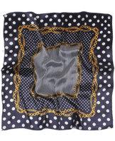 Zijden vierkant sjaaltje Dots Chain|Wit blauw|Stippen kettingen print|Kleine shawl