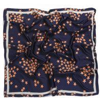 Zijden vierkant sjaaltje Stars|Navy blauw oranje|Sterrenprint|Kleine shawl