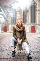 Lange gebreide dames sjaal Sweetness|Extra lange sjaal|Khaki Bruin|Zachte wintersjaal