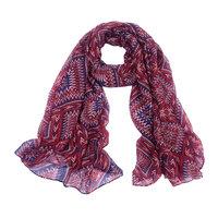Lange dames sjaal Creative Lines|Lange shawl|Aztec print|Rood blauw