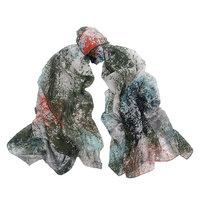Lange dames sjaal Painted|Lange shawl|Groen Oranje blauw