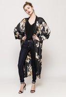 Zijdezachte lange kimono Fleurie|Kimono vest|Bloemenprint|Zwart