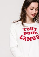 Dames sweater Tout Pour L'Amour|Witte sweater trui|Rode quote