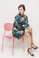 Midi jurk Floral Parrot|Jurk bloemenprint vogel|lange mouwen|Blauw roze