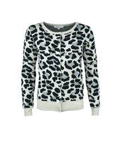 Gebreid dames vest Leo|Luipaardprint|Beige grijs zwart