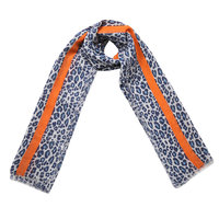 Lange dames sjaal Funky Beast|Lange shawl|Luipaard print|Grijs blauw oranje