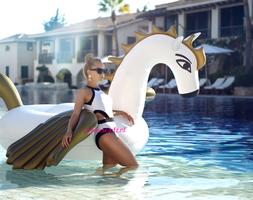 Inflatable Pegasus XXL|Opblaasfiguur|Waterspeelgoed|Eenhoorn vleugels|Wit goud|Extra groot formaat