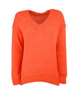 Gebreide fluffy trui Candice|Oranje Tangerine|mohair mix