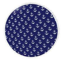 Beach roundie Nautical Anchors|Badstof Microfiber|Rond strandlaken|Ankers Marine|Blauw wit