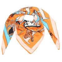 Grote zijden dames sjaal Silk Orange Leopard|Vierkante shawl|Luipaard print|Oranje...