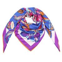Grote zijden dames sjaal Silk Purple Crane|Vierkante shawl|Vogel verenprint|Blauw...