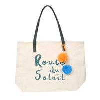 Beach Bag Route du Soleil quote|Strandtas|Groen bruin|Papier