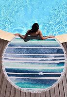 Beach roundie Watercolor|Badstof Microfiber|Extra dikke kwaliteit|Ibiza ronde handdoek|Rond...
