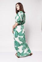 Maxi jurk Tropics|Tropische bladeren print|wit groen