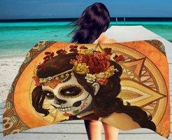 Lang strandlaken Dia de los Muertos|Badstof Microfiber|Badlaken|Day of the Dead Skull Doodshoofd