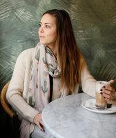 Lange dames sjaal Cactus|Lange shawl|Beige Groen Oranje|Cactus
