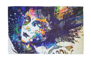Lang strandlaken Artistic Woman|Badstof Microfiber|Badlaken|Kunst vrouw pixels