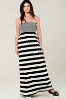 Maxi jurk Stripes|Zwart wit gestreept|Bandeau jurk