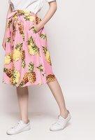 Midi rok Pineapple|Zomerse roze rok|Ananas print