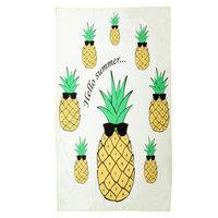Lang strandlaken Hello Summer|Badstof Microfiber|Badlaken|Quote ananas|Geel groen